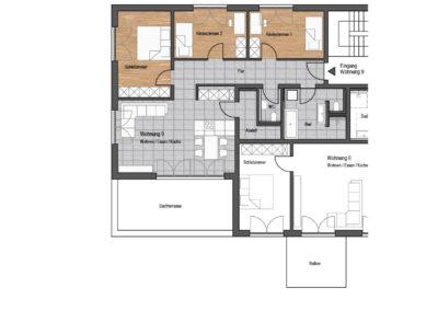 Wohnung Nr. 9 – 4-Zimmer Wohnung mit Dachterrasse, 1. OG