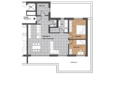 Wohnung Nr. 10 – 4-Zimmer Wohnung mit Dachterrasse, 1. OG