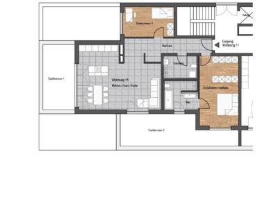 Wohnung Nr. 11 – 3-Zimmer Wohnung mit 2 Dachterrassen, Dachgeschoss