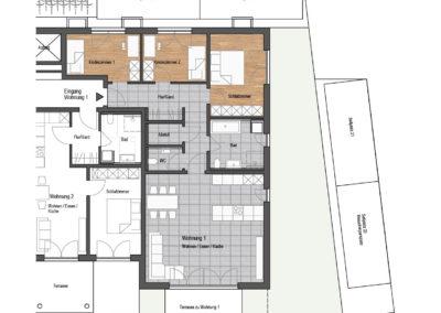 Wohnung Nr. 1  – 4-Zimmer Wohnung mit Terrasse und Garten