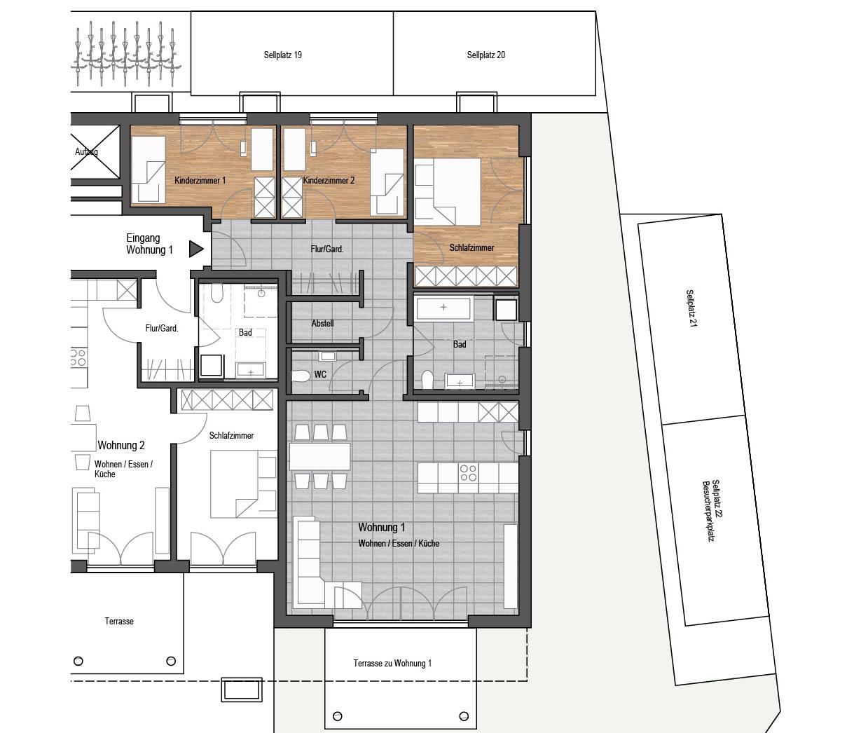Wohnung Nr. 1 - 4-Zimmer Wohnung mit Terrasse und Garten ...