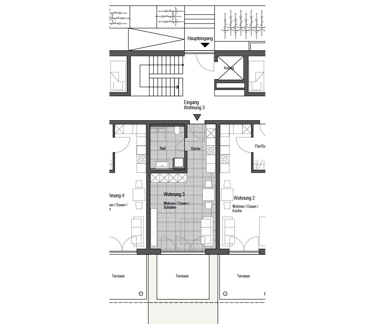 wohnung nr 3 1 zimmer wohnung mit terrasse und garten. Black Bedroom Furniture Sets. Home Design Ideas
